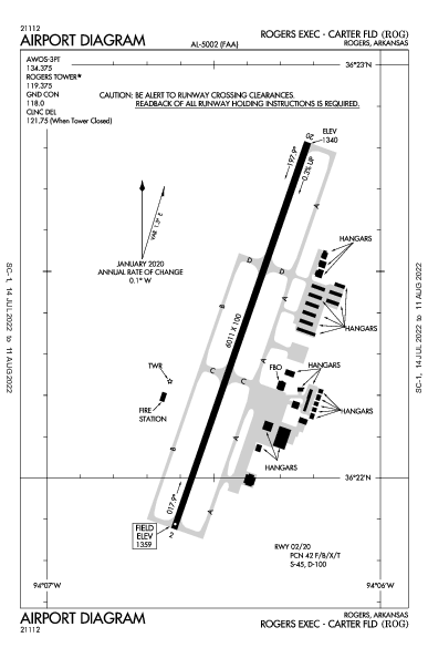 Rogers Executive - Carter Field Airport (Rogers, AR): KROG Airport Diagram