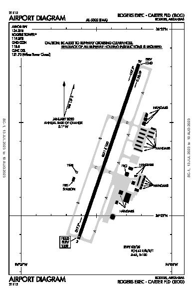Rogers Muni-Carter Field Airport (Rogers, AR): KROG Airport Diagram
