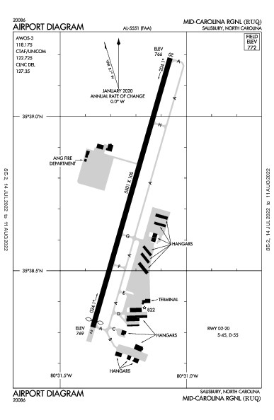 Rowan County Airport (Salisbury, NC): KRUQ Airport Diagram