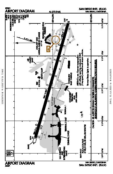 サンディエゴ国際空港 Airport (San Diego, CA): KSAN Airport Diagram