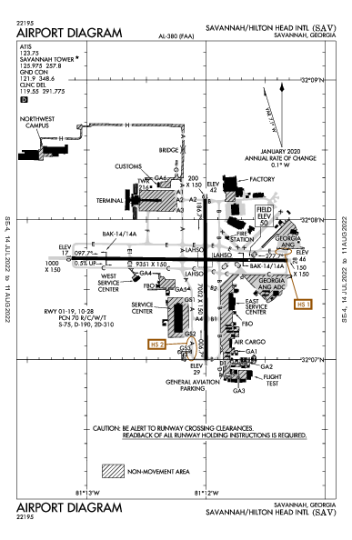 Savannah/Hilton Head Intl Airport (Savannah, GA): KSAV Airport Diagram