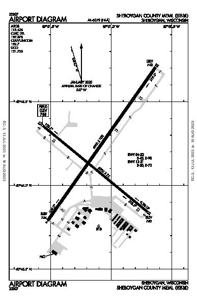Sheboygan County Meml Airport (Sheboygan, WI): KSBM Airport Diagram