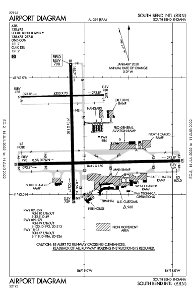 South Bend Intl Airport (南本德, 印地安納州): KSBN Airport Diagram