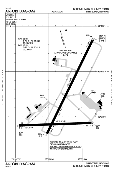 Schenectady County Airport (سكنيكتادي، نيويورك): KSCH Airport Diagram