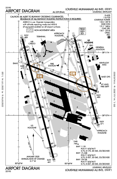 Int'l de Louisville Airport (Louisville, KY): KSDF Airport Diagram