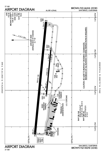 Brown Field Muni Airport (San Diego, CA): KSDM Airport Diagram