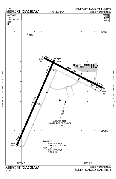 Sidney-Richland Rgnl Airport (Sidney, MT): KSDY Airport Diagram
