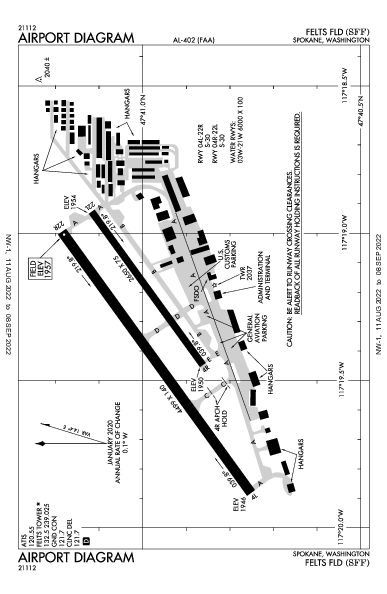 Felts Field Airport (Spokane, WA): KSFF Airport Diagram