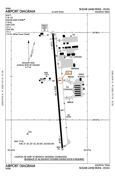 Sugar Land Rgnl Airport (Houston, TX): KSGR Airport Diagram