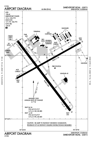 Shreveport Rgnl Airport (什里夫波特, 路易斯安那州): KSHV Airport Diagram