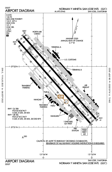 San Jose Int'l Airport (San Jose, CA): KSJC Airport Diagram