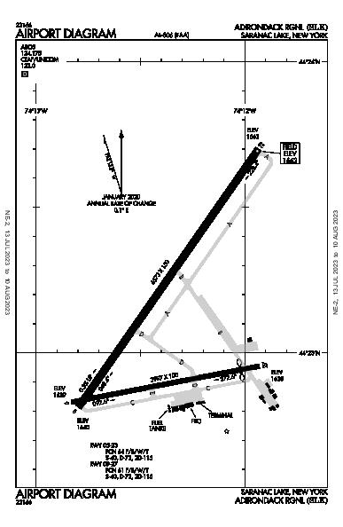 Adirondack Rgnl Airport (Saranac Lake, NY): KSLK Airport Diagram