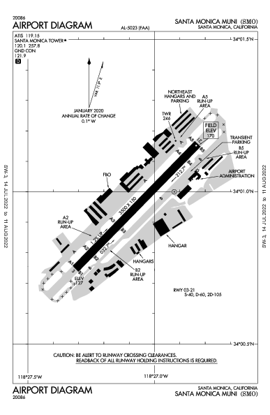 Santa Monica Muni Airport (Santa Monica, CA): KSMO Airport Diagram