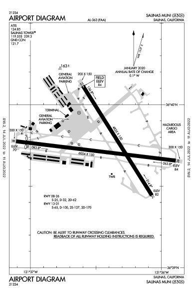 Salinas Muni Airport (Salinas, CA): KSNS Airport Diagram