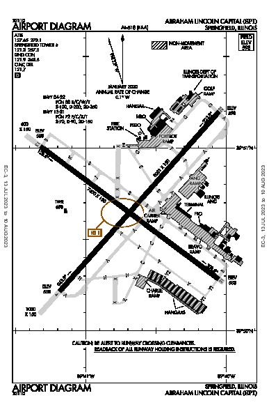 Abraham Lincoln Capital Airport (Springfield, IL): KSPI Airport Diagram
