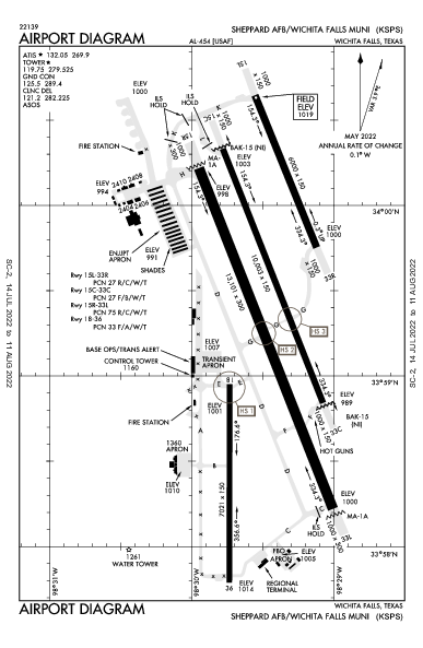 Sheppard AFB  Airport (Wichita Falls, TX): KSPS Airport Diagram