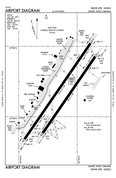 Shaw Afb Airport (Sumter, SC): KSSC Airport Diagram