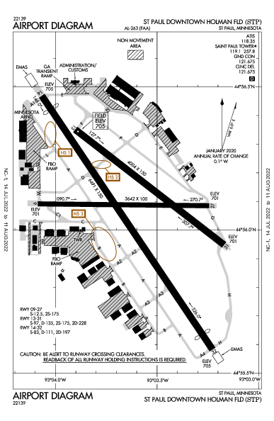 St Paul Holman Fld Airport (سانت باول، مينيسوتا): KSTP Airport Diagram