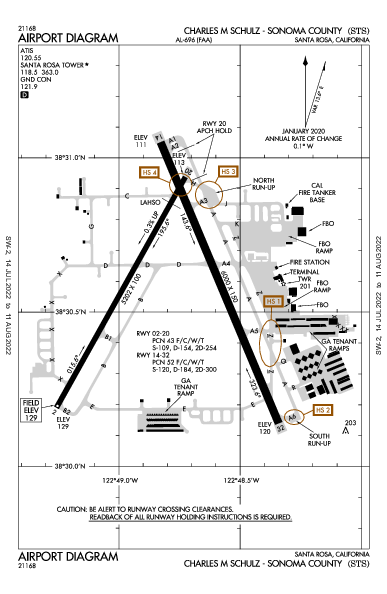 Schulz-Sonoma County Airport (Santa Rosa, CA): KSTS Airport Diagram