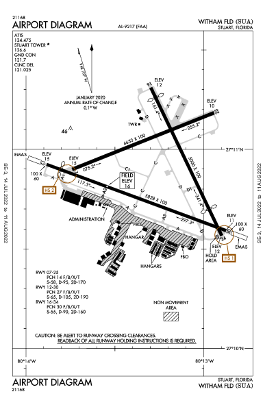 Witham Field Airport (Stuart, FL): KSUA Airport Diagram
