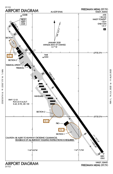 Friedman Memorial Airport (Hailey, ID): KSUN Airport Diagram