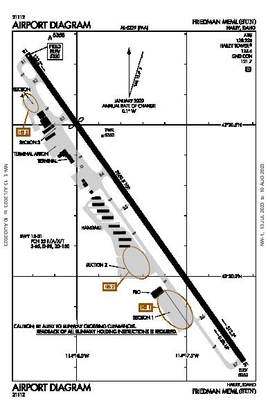 Friedman Memorial Airport (Hailey, ID): KSUN Airport Diagram