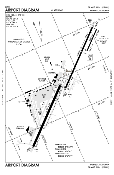 Travis Afb Airport (Fairfield, CA): KSUU Airport Diagram