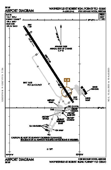 Waynesville Rgnl  Airport (Fort Leonard Wood, MO): KTBN Airport Diagram