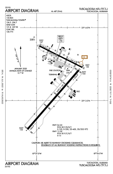 Tuscaloosa National Airport Airport (Tuscaloosa, AL): KTCL Airport Diagram