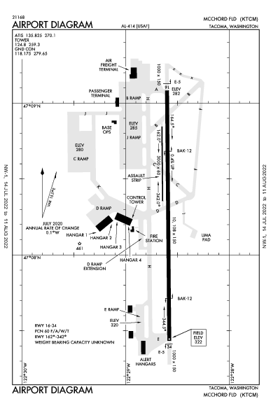 Mcchord Fld (Joint Base Lewis-Mcchord) Airport (Tacoma, WA): KTCM Airport Diagram