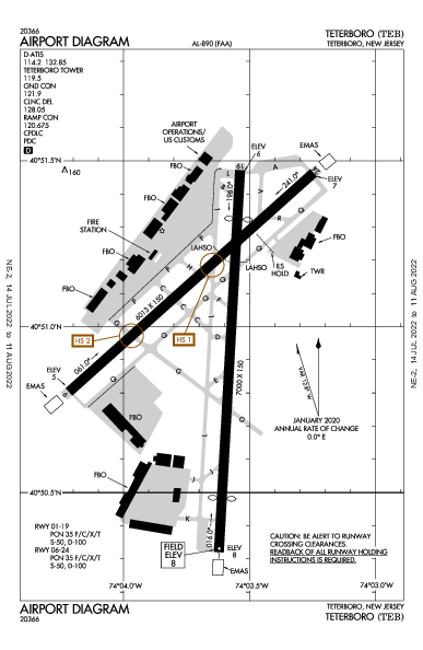 テターボロ空港 Airport (Teterboro, NJ): KTEB Airport Diagram