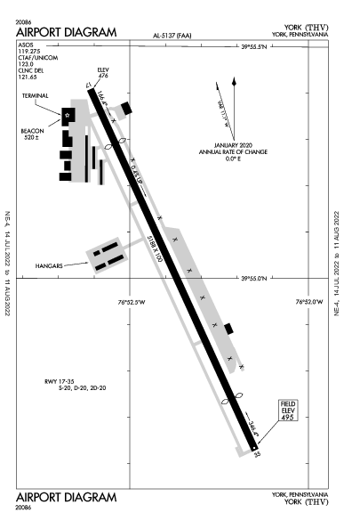 York Airport (York, PA): KTHV Airport Diagram