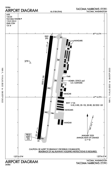 Tacoma Narrows Airport (Tacoma, WA): KTIW Airport Diagram