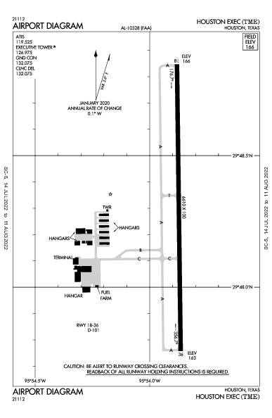 Houston Executive Airport (Houston, TX): KTME Airport Diagram