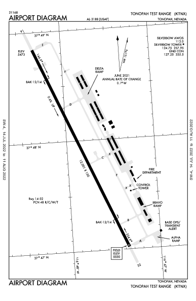 Tonopah Test Range Airport (Tonopah, NV): KTNX Airport Diagram