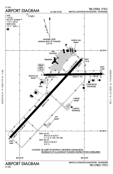 Tri-Cities Airport (Bristol/Johnson/Kingsport, TN): KTRI Airport Diagram