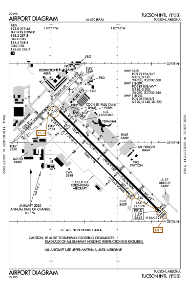 ツーソン国際空港 Airport (Tucson, AZ): KTUS Airport Diagram