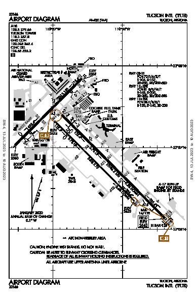 Tucson Intl Airport (图森, 亚利桑那州): KTUS Airport Diagram