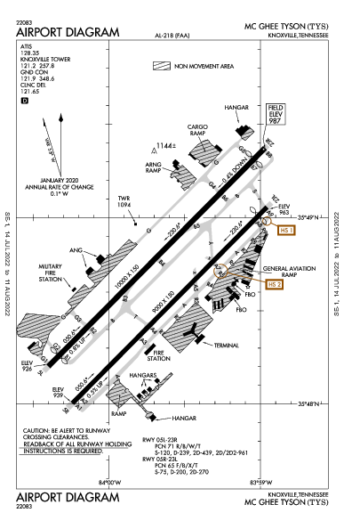 Mc Ghee Tyson Airport (녹스빌): KTYS Airport Diagram