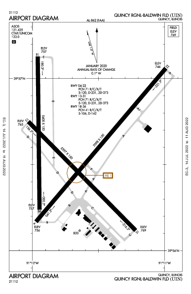 Quincy Rgnl-Baldwin Field Airport (Quincy, IL): KUIN Airport Diagram