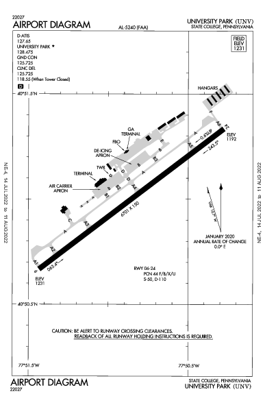 University Park Airport Airport (State College, PA): KUNV Airport Diagram