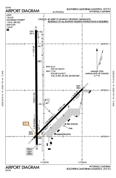 So California Logistics Airport (Victorville, CA): KVCV Airport Diagram