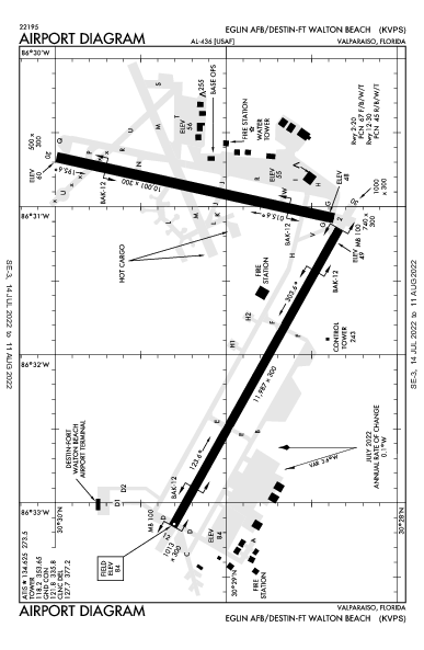 Eglin Afb/Destin-Ft Walton Beach Airport (Valparaiso/Destin-Ft Walton Beach, FL): KVPS Airport Diagram