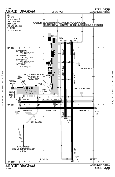 Cecil Airport (Jacksonville, FL): KVQQ Airport Diagram