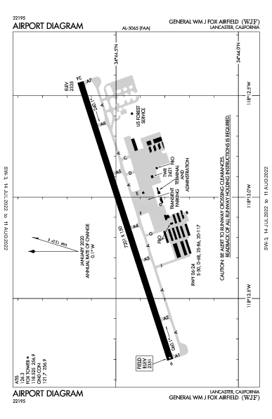 General Wm J Fox Airfield Airport (Lancaster, CA): KWJF Airport Diagram