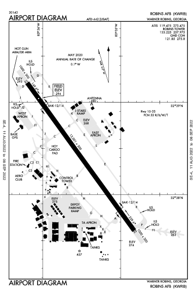 Robins Afb Airport (Warner Robins, GA): KWRB Airport Diagram