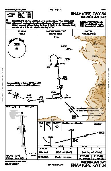 Bakersfield Muni Bakersfield, CA (L45): RNAV (GPS) RWY 34 (IAP)