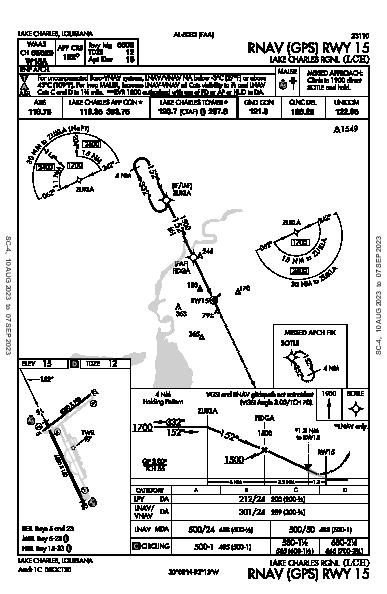 Lake Charles Rgnl Lake Charles, LA (KLCH): RNAV (GPS) RWY 15 (IAP)
