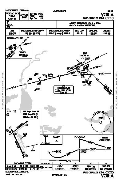 Lake Charles Rgnl Lake Charles, LA (KLCH): VOR-A (IAP)