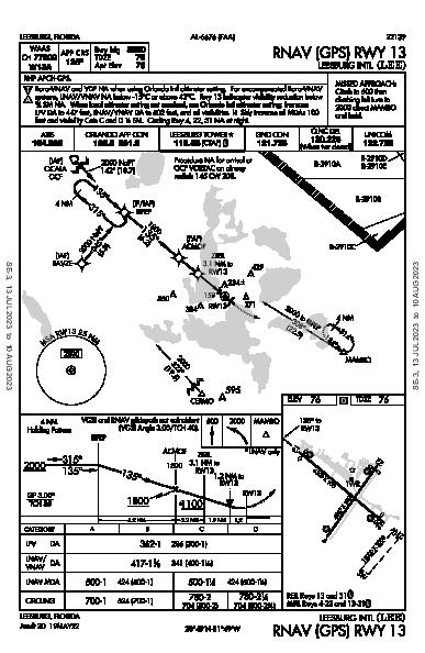 Leesburg Intl Leesburg, FL (KLEE): RNAV (GPS) RWY 13 (IAP)